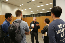 Mark Wigley talking to the students after his lecture