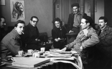 acques Doucet, Constant Nieuwenhuys, Christian Dotremont, Denise Atlan, Jean-Michel Atlan, Corneille and Karel Appel in studio of Jean Michel Atlan in Paris, 1949