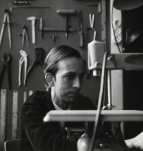 Constant Nieuwenhuys-Working in his studio on the Henri Polaklaan in Amsterdam, 1959