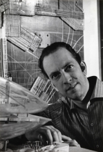 1960 Constant in his studio with Spatiovore and Groep sectoren