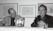 Constant Nieuwenhuys-with Benjamin Buchloh at symposium The Activist Drawing NY, 1999