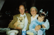 Constant Nieuwenhuys with his dog  Tikus and Tajiri with his granddaughter Tanea, 2000