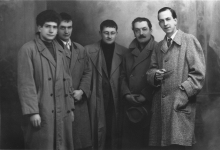 Walter Olmo, Piero Simondo, Guy Debord, Pinot Gallizio and Constant Nieuwenhuys in Alba, 1956