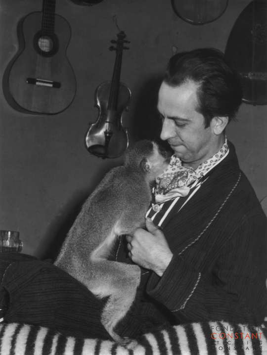 Constant Nieuwenhuys- With his pet monkey Jocko, 1961