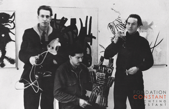 Constant, Appel en Corneille at their exhibition at gallery Santee Landweer, 1948