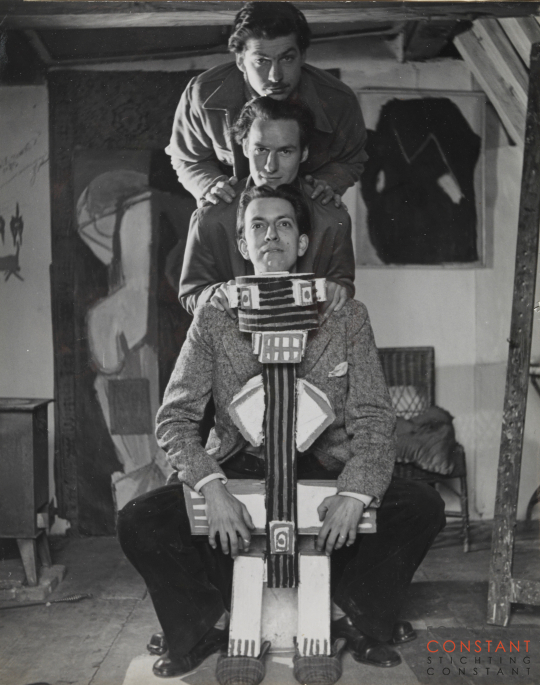 Constant, Corneille and Appel in studio Karel Appel, 1948