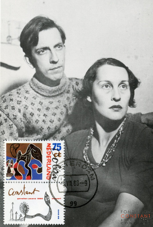 Constant and his second wife Nellie Riemens with stamp by Jan Bons, 1949