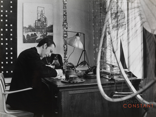 Constant at his studio, 1958