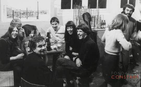 Constant Nieuwenhuys-Party at Constant's studio, 1967