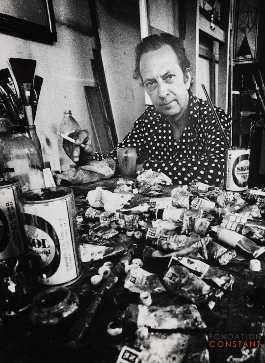 Constant Nieuwenhuys-Constant in his studio, 1976