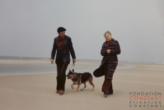 Constant, Fanny and Constant's dog, Herta, at the beach, circa 1976.