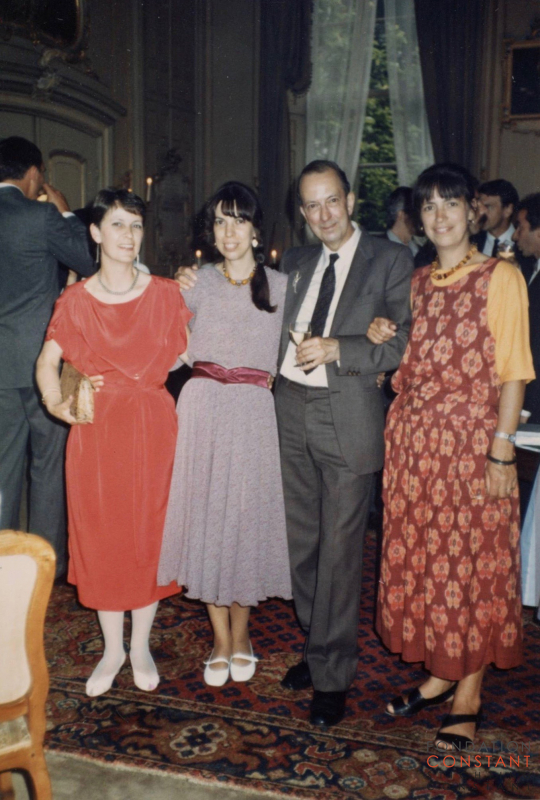 Constant with his daughters at his 65th birthday, 1985