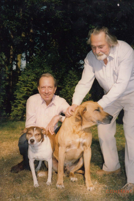 Constant and Hans Wiesman with their dogs Waldo and Bwana.