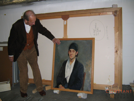 Constant Nieuwenhuys with his Self portrait 1941-1942 in 2004