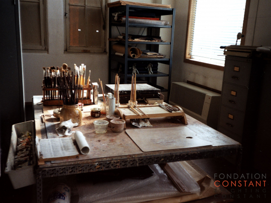 Constant Nieuwenhuys' workstation, 1999
