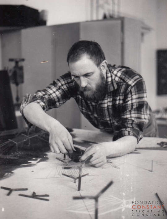Peter Clough working at the macquette