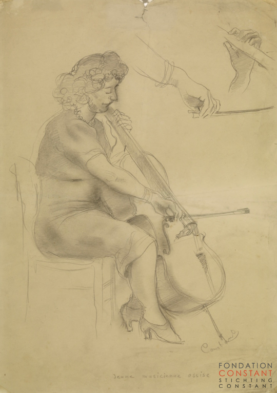 Constant Nieuwenhuys-Jeune musicienne assise, 1940 ca