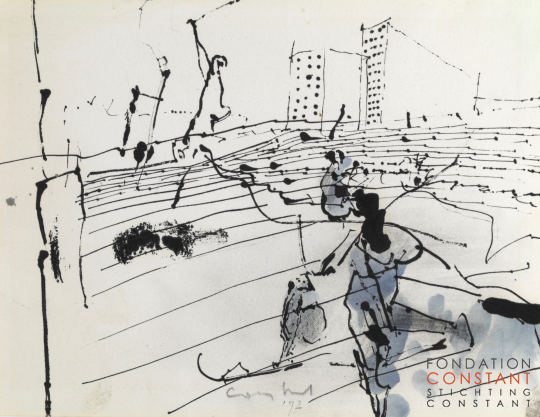 Constant Nieuwenhuys-ZT/Figures in front of buildings, 1972