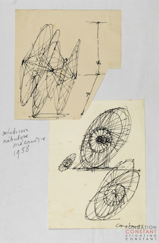 Constant Nieuwenhuys-Sketch for the Nébulose mécanique, 1958