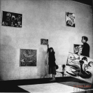 Installation Cobra exhibition, Aldo van Eyck with L'Animal Sorcier, 1949